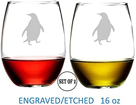 "Penguin Stemless Wine Glasses | Etched Engraved | Perfect Fun Handmade Present for Everyone | Dishwasher Safe | Set of 2 | 4.25"" High x 3.5"" Wide 