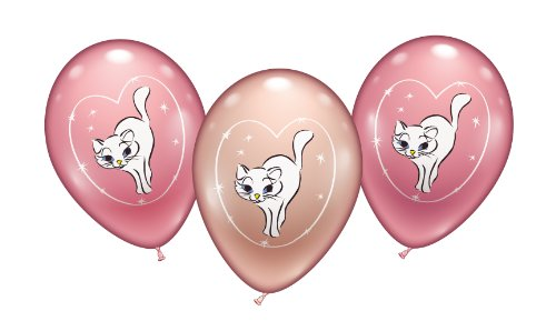 Karaloon 30024 - 6 Ballons Sweet Little cat 28-30 cm, rosa