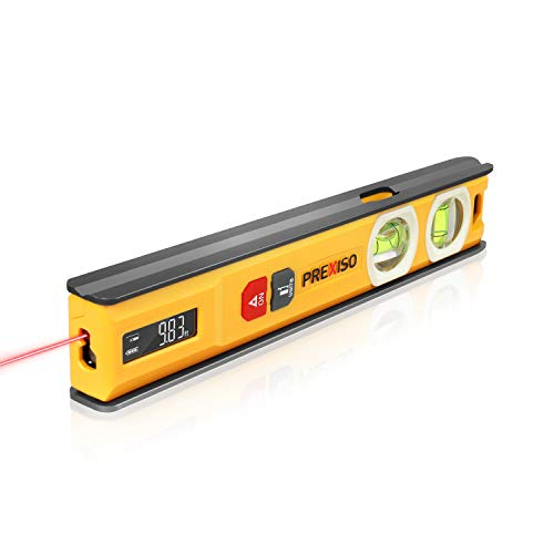PREXISO 2-in-1 Laser Measure and Torpedo Level, 65ft Laser Distance Measure Built-in 12-inch Aluminum Alloy Magnetic Level