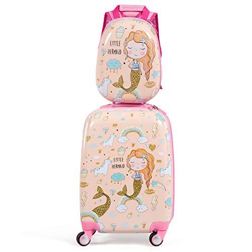 GOPLUS Kinderkoffer mit Rucksack, Kids Trolley, Kindergepäck mit Rollen, Reisekoffer mit Teleskopgriff, Hartschalenkoffer für Kinder, Kindertrolley Farbwahl (Pink)