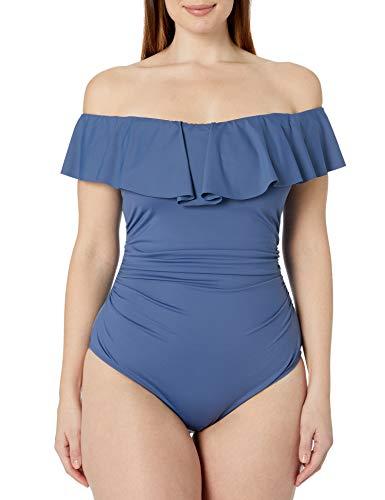 La Blanca Women's Plus Size Ruffled Bandeau One Piece Swimsuit, Blue Moon, 22W
