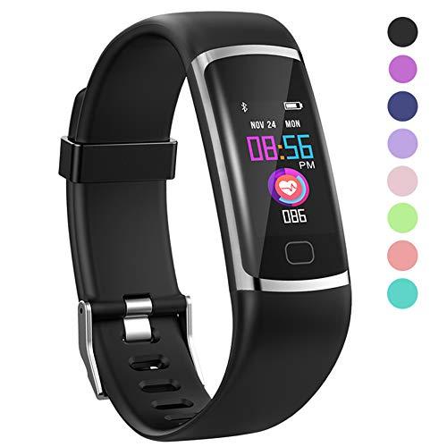 Polywell Fitness-Tracker, Aktivitätstracker mit Herzfrequenz-Monitor und Schlaf-Monitor, Bluetooth, wasserdicht, Schrittzähler und Kalorienzähler für Android und iOS (Black)