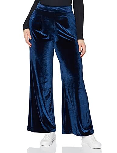Marchio Amazon - find. Pantaloni a Palazzo in Velour Donna, Blu (Blue), 42, Label: S