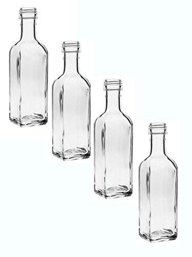 """24 leere Glasflaschen\""""Maraska\"""" 100 ml incl. Schraubverschluss Silber Saftflasche Likörflaschen Schnapsflaschen Ölflaschen Flaschen Wasserflasche aus Glas zum selbst befüllen"""