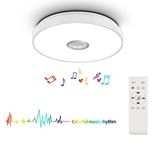 HOREVO 24W LED Deckenleuchte Farbwechsel mit Fernbedienung Musik Deckenlampe mit Bluetooth Lautsprecher Ø38CM 2700-6500K 1800LM RGB Licht Dimmbar für Kinderzimmer