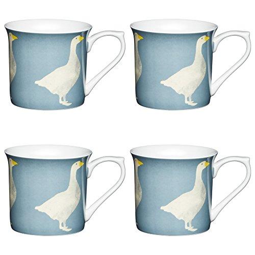 MUGS Goose Oiseau imprimé cannelé Chine Bleu Gris 300 ml Lot de 4
