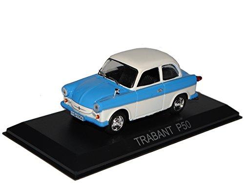 Unbekannt Trabant P50 500 Limousine Blau Weiss 1/43 Modellcarsonline Modell Auto mit individiuellem Wunschkennzeichen