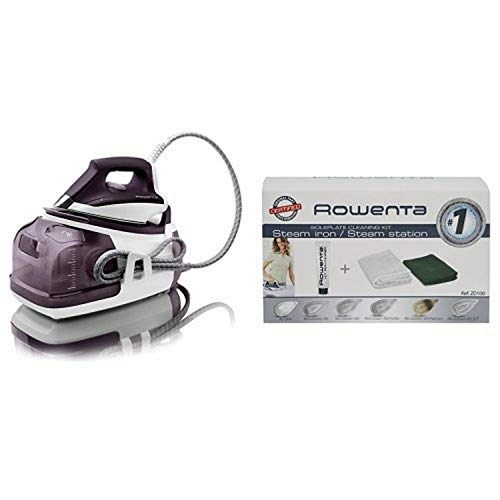 Rowenta DG8520 Perfect Steam 1800-Watt Eco Energy Steam Iron Station Stainless Steel Soleplate, 400-Hole, Purple & Rowenta ZD100 Non-Toxic Stainless Steel Soleplate Cleaner Kit for Steam Irons