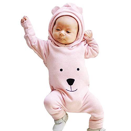 DAY8 Vêtement Bébé Garçon Naissance 0-24 Mois Pyjama Bébé Garçon Hiver 2018 Combinaison Bébé Garçon Manche Longue Cartoon Body Bébé Fille Capuche Grenouillères Barboteuses (80(12-18 Mois), Rose)