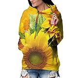 Hip Hop Long Sleeves Pullover Hoodie Hooded Sweatshirt with Pocket, Slim Yellow Sunflower Hoodie Streetwear for Yoga, Riding, Camping