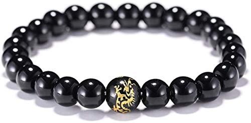 FLYAND Pulsera de Piedra Mujer, 7 Chakra Piedra Natural Brazalete Negro ónix elástico Yoga Afortunado Pulsera joyería de dragón para Damas Regalo de Pareja de Navidad
