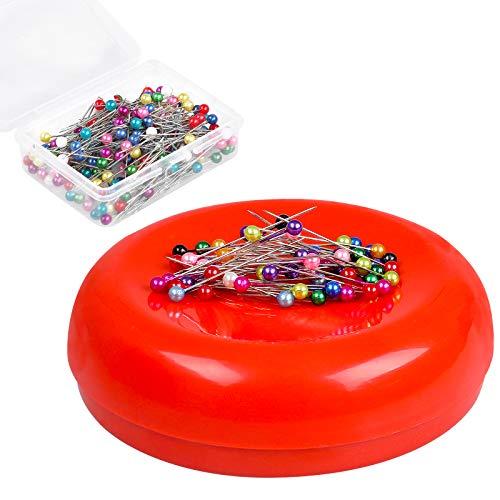 Magnetic Pin Cushion with 200 PCS Sewing Pins, Round Plastic Magnetic Sewing Cushion, Magnetic Pin Holder for Sewing Needles Push Pins Hair Bobby Pins (Red)