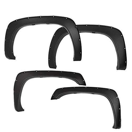 NEW Smooth Black Pocket Bolt-Riveted Style Fender Flares Kit For Chevy Silverado Sierra 1500/2500/3500HD 1999-2007 Bolt On Wheel Cover Protector Vent Trim 4 Piece 2000 2001 2002 2003 2004 2005 2006