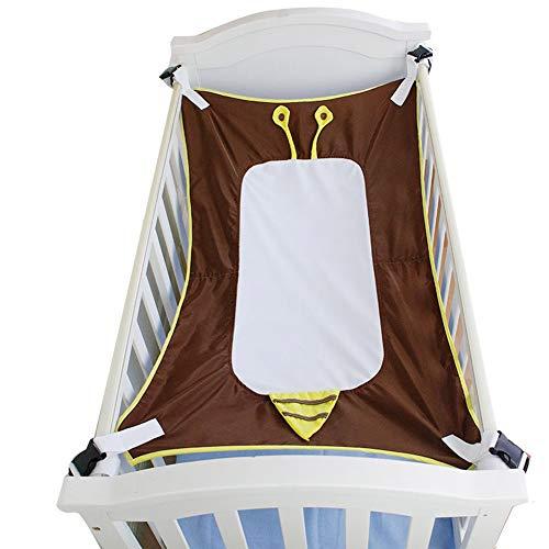 Zhongyanxin Baby-Hängematte, Cartoon-Sicherheits-Bett, Schlaf-Hängematte, weich, einfach, atmungsaktiv, stark, verstellbare Länge, Schnallen (3 Farben), 96 x 58 cm