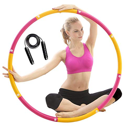 XKUN Aros de Fitness 8 Secciones niña/Fitness Adulto/Hula Hoop Infantil Peso Pesas para Hacer Ejercicio Hula Hoop niña,Quema Grasa Fitness 1kg