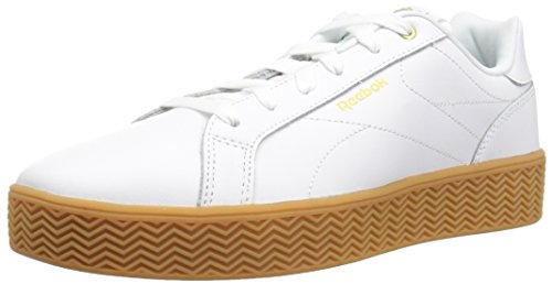 Reebok Women's Royal Complete Walking Shoe, White/Gold Metallic/Gum, 9.5 M US