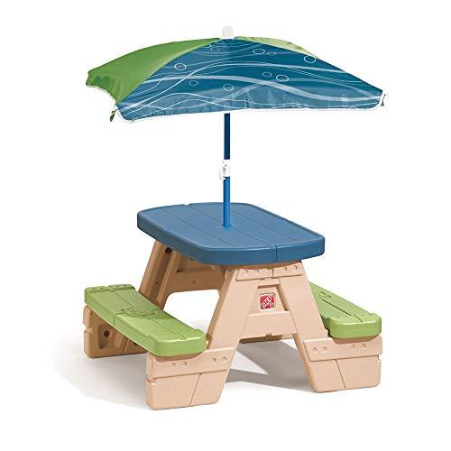 Step2 Sit and Play Picknicktisch mit Sonnenschirm | Picknickbank für Kinder aus Kunststoff