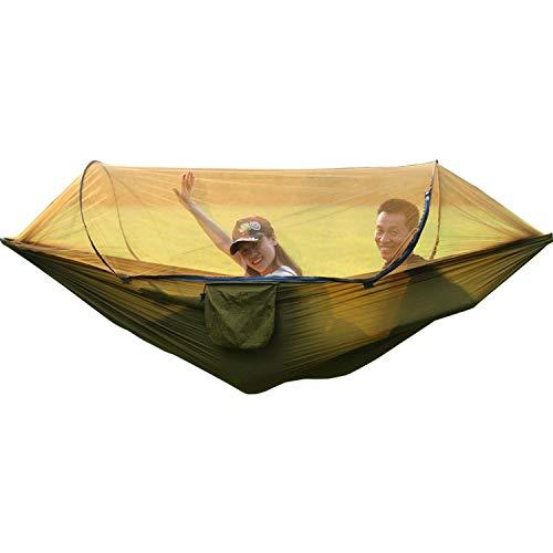 SSB Swing Vitesse Automatique Ouverte Double moustiquaire d'hamac en Tissu de Parachute Ultra léger Anti-Moustique capacité de Charge 300kg, Jardin intérieur extérieur 260 * 140cm