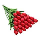 Tifuly 24 Piezas de Tulipanes Artificiales de látex, Ramos de Flores Falsos de Tulipanes realistas para el hogar, Bodas, Fiestas, decoración de oficinas, arreglos Florales (Rojo)