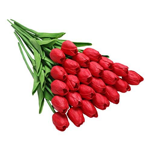 Tifuly 24 Stück künstliche Tulpen, realistische Latex-Tulpe mit weichem PU-Stiel, Elegante Blumendekoration für Brautsträuße, Haus, Party, Büro, DIY Blumenarrangements(Rot)