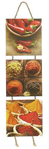 levandeo Wandbilder Küchen-Deko 15x53cm Chili Gewürze Wanddekoration Küchenbilder Schilder Bilder
