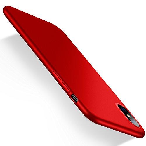 Funda para iPhone X de Humixx, Solo para iPhone X, para cámara de iPhone XS, antihuellas, antiarañazos, Mate, Ligera, Carcasa rígida para iPhone X (Skin Series) (roja)