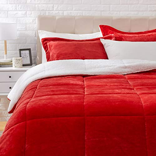 Amazon Basics Ultra-Soft Micromink Sherpa Comforter Bed Set, Full or Queen, Red - 3-Piece