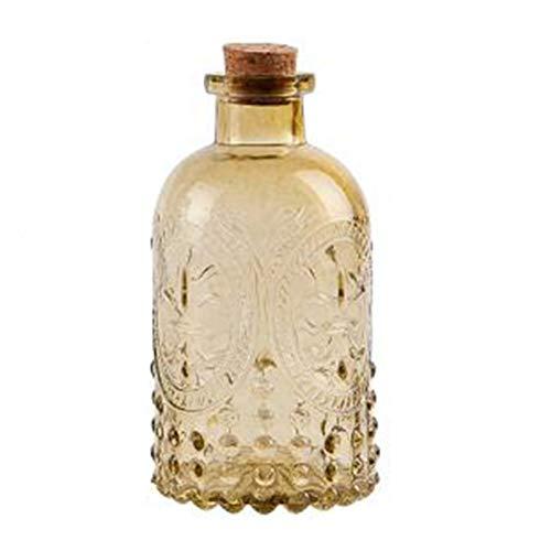 QFDM Botella de Almacenamiento Jarrón de 250 ml con Corcho Tallado Tablero de Vidrio Botella de Botella Botella de aromaterapia Decoración del hogar Botellas, Jarras y Cajas (Color : Dark Khaki)