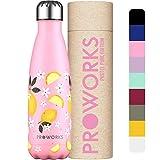 Proworks Bottiglia Acqua in Acciaio Inox, Senza BPA Vuoto Isolato Borraccia Termica in Met...