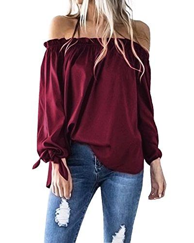 ACHIOOWA Langarmshirt Schulterfrei Tunika Damen Elegant Hemd Oversize Tops Oberteil Rot-814413 M