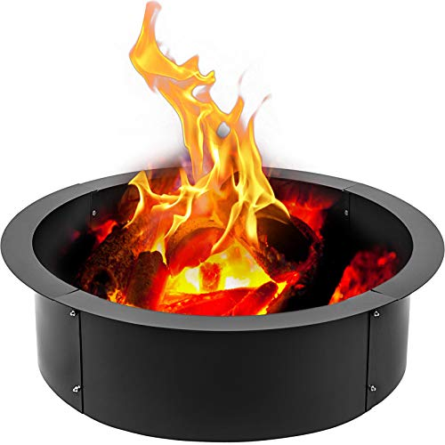 VBENLEM Fire Pit Ring 45-Inch Outer/39-Inch Inner Diameter, 3.0mm Thick Heavy Duty Solid Steel, Fire Pit Liner DIY Campfire Ring Above or In-Ground for Outdoor
