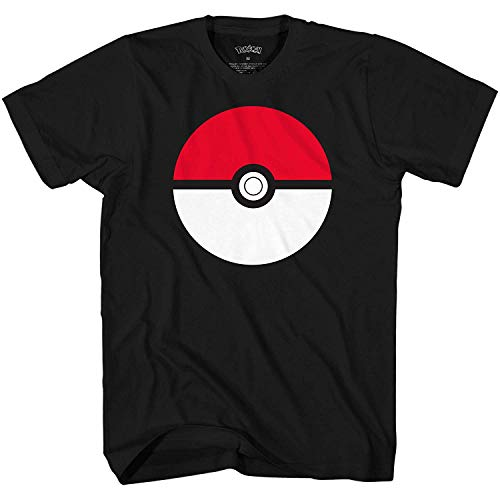 Pokemon Men's Pokémon Poké Ball Icon Trainer T-Shirt, Black, Medium