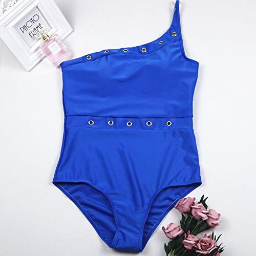 B/H Ropa de Baño Cintura Alta,Bikini de una Pieza, Traje de baño sin Espalda, Hebilla de Metal de Color sólido-Azul Zafiro_Large