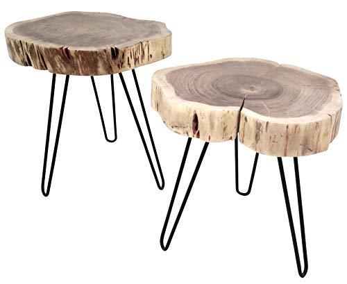 habeig 2er-Set Beistelltisch Couchtisch Dickes Massivholz rustikal Tischset Tische Sofatisch