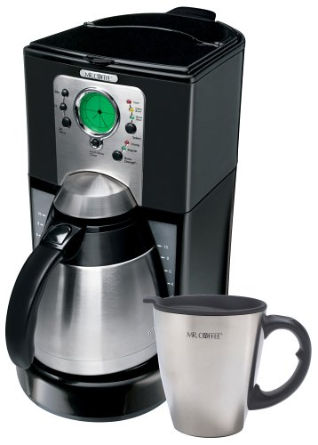 Mr. Coffee MG 10-Cup Thermal Programmable Coffeemaker with Bonus Travel Mug, Black with Stainless Steel Accents