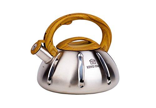 Kinghoff Wasserkessel aus Edelstahl, für Induktion und alle sonstigen Herdarten geeignet, 3 Liter Fassungsvermögen (Braun)