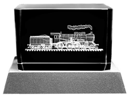 Kaltner Präsente Sfeerlicht - Het perfecte cadeau: led-kaars/kristalglazen blok/3D-lasergravure spoorweg stoomlocomotief met tender.
