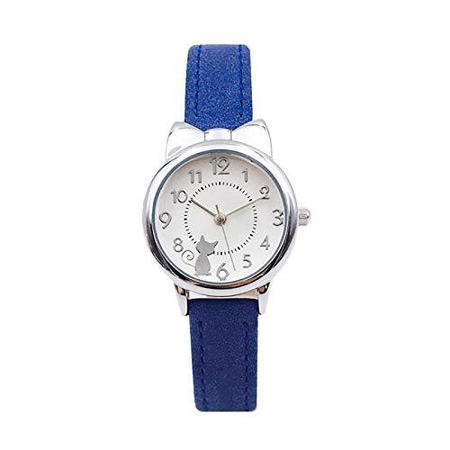 Relojes Niños Reloj para Niños Gato Relojes De Cuarzo Multicolor Relojes para Niñas Relojes con Roseta Colorido Plateado-Azul
