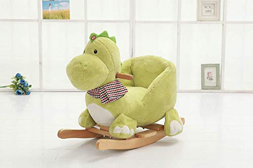 ToYqUeEn Premium Plush Rocking Horse,Wooden Bear Rocker w/Sound,Stuffed Rocking Animal,Christmas/Birthday Gift,Baby/Kid Ride On Toy for 1 to 3 Years Old-ASTM Child Safety Standards Approved (Dinosaur)