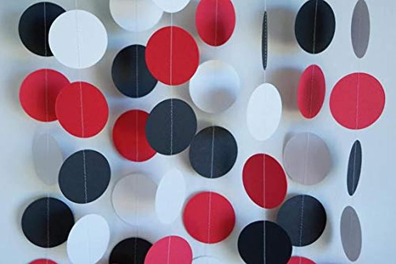 Red, White & Black 10ft dot Paper Garland, Birthday Party Decor, Wedding Shower Decor, Nursery Décor