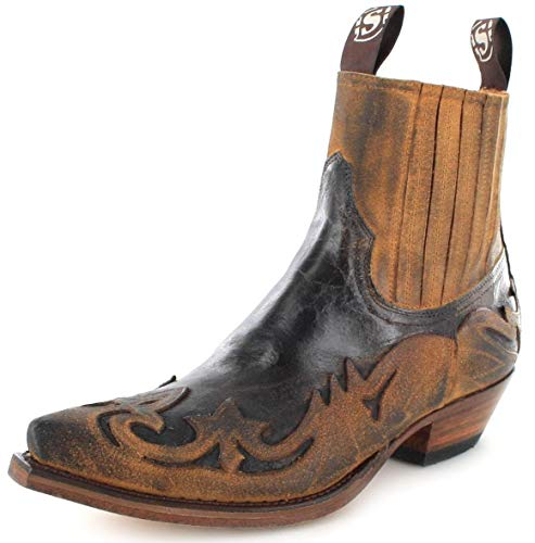 Sendra Boots Unisex Cowboy Stiefel 4660 Camello Westernstieflette Lederstiefelette Braun 45 EU
