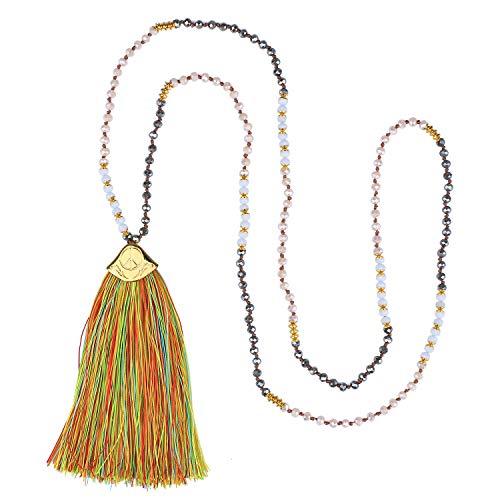 C·QUAN CHI Fluorescent Tassel Necklace for Womens...