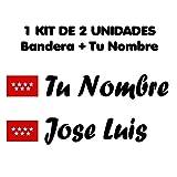 Pegatina Vinilo Bandera Madrid + tu Nombre - Bici, Casco, Pala De Padel, Tablas Skate, Coche, Moto, etc. Kit de Dos Vinilos (Negro)