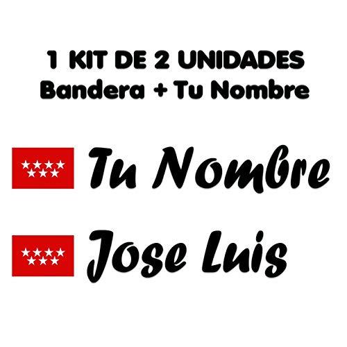 Pegatina Vinilo Bandera Madrid + tu Nombre - Bici, Casco, Pala De Padel, Tablas Skate, Coche, Moto, etc. Kit de Dos Vinilos (Paq Fuentes 1)