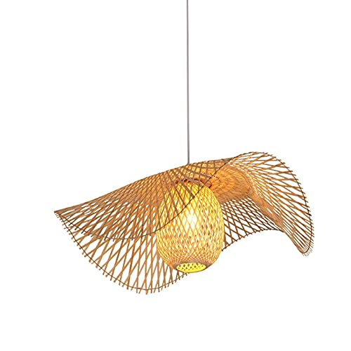 Lámpara de araña de bambú tejida a mano Lámpara colgante de bambú rústica Sala de estar Decoración de barra Lámpara colgante E27 Lámpara de techo de ratán tejida a mano para pasillos ( Size : 45cm )