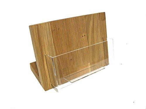 LINLAY Intarsien & Gravuren DIN A6 Querformat Tisch Flyerhalter Postkartenhalter Eiche Holz Acryl