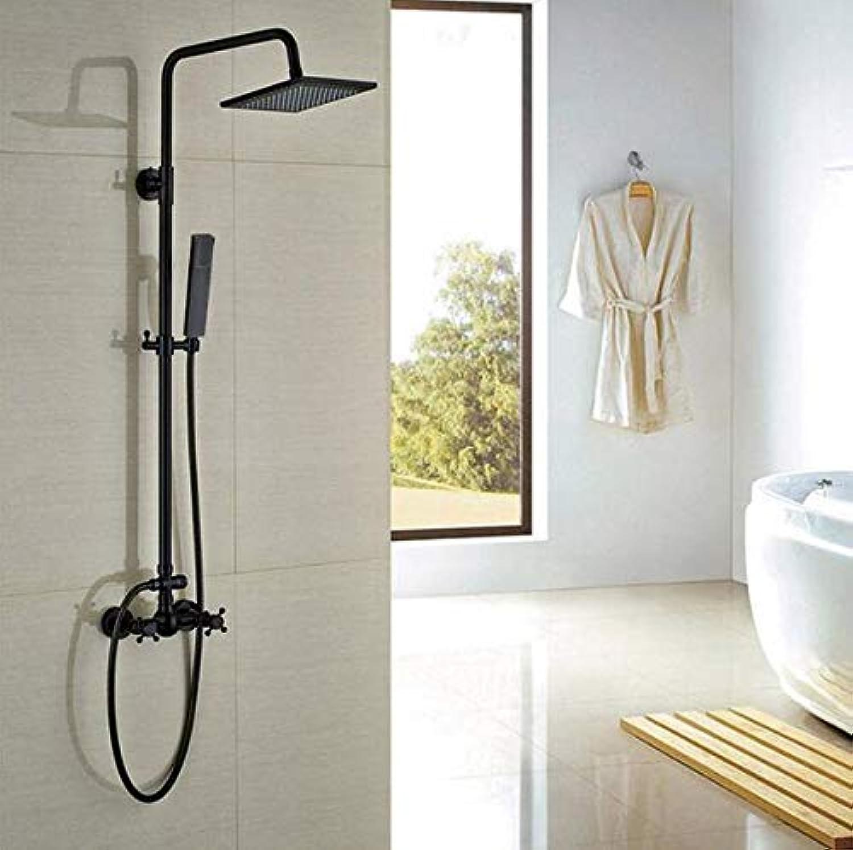 MICHEN 8 Regendusche Wasserhahn Wandmontage mit Handheld LED Licht Duschmischer Sulensatz Messing Quadrat Duschkopf Wandmontage
