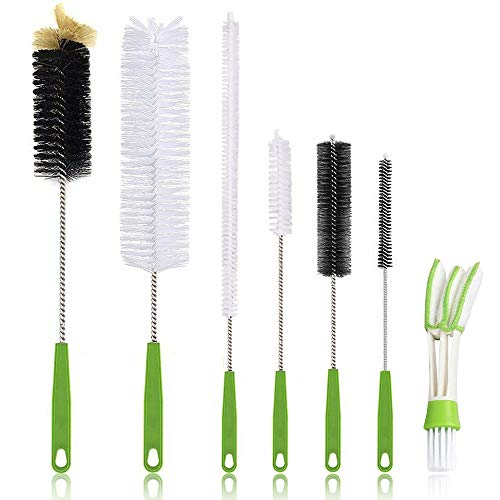 Long Bottle Cleaning Brush 17' Extra Long Brush for Washing Narrow Neck Beer, Wine, Kombucha, Water Bottles,Decanter, Narrow Neck Brewing Bottles, Flexible Bendable Brushes Household Cleaning (7Pcs)