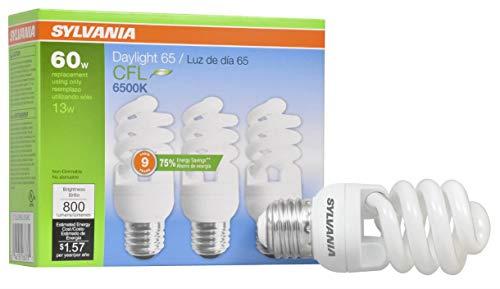 SYLVANIA CFL T2 Twist Light Bulb, 60W Equivalent, Efficient 13W, 800 Lumens, Medium Base, 6500K, Daylight - 3 Pack (26378)