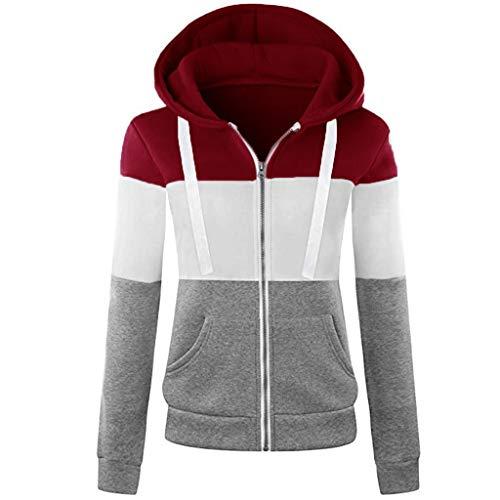 ESAILQ Mode Damen Hoodie Sweatshirt mit Kapuze Mantel Zipper Jacke(XXL,Gelb)